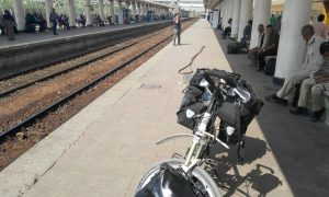 Train station in Minya Egypt with my bicycle and the police.