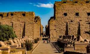 View from the entry of the amazing temple of Karnak, in Luxor Egypt.