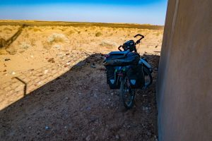Hiding in the shade of telecomunication towers in Sahara desert in Sudan, from Dongola to Karima.