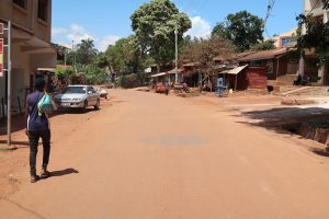 Street in Entebbe Uganda on bicycle.