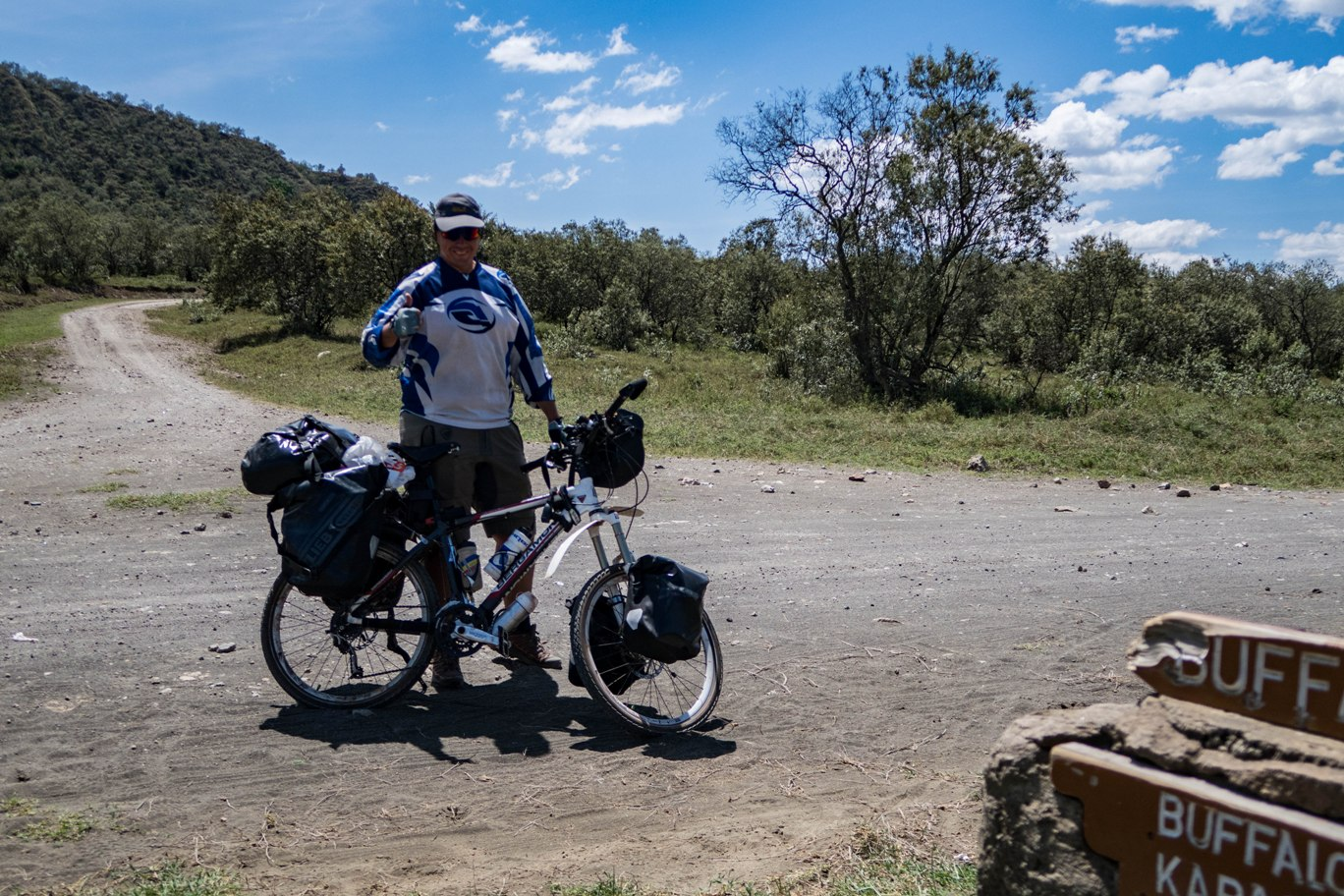 Cyling in Hell`s Gate National Park safari.
