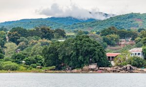 View from Nkhata Bay at Majoka Village with a bicycle cycling from Cairo to Cape Town in malawi.