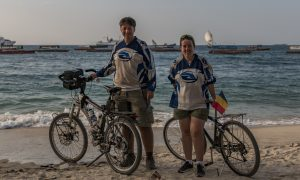 Beach view in Stone Town in zanzibar with our bicycles that we carryed them on the fast ferry from dar es salaam.