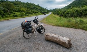 Cycling from Lusaka to Mazabuka and Livingstone in Zambia.