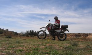 Motorcycle in tunisia near Matmata comming from Douz.