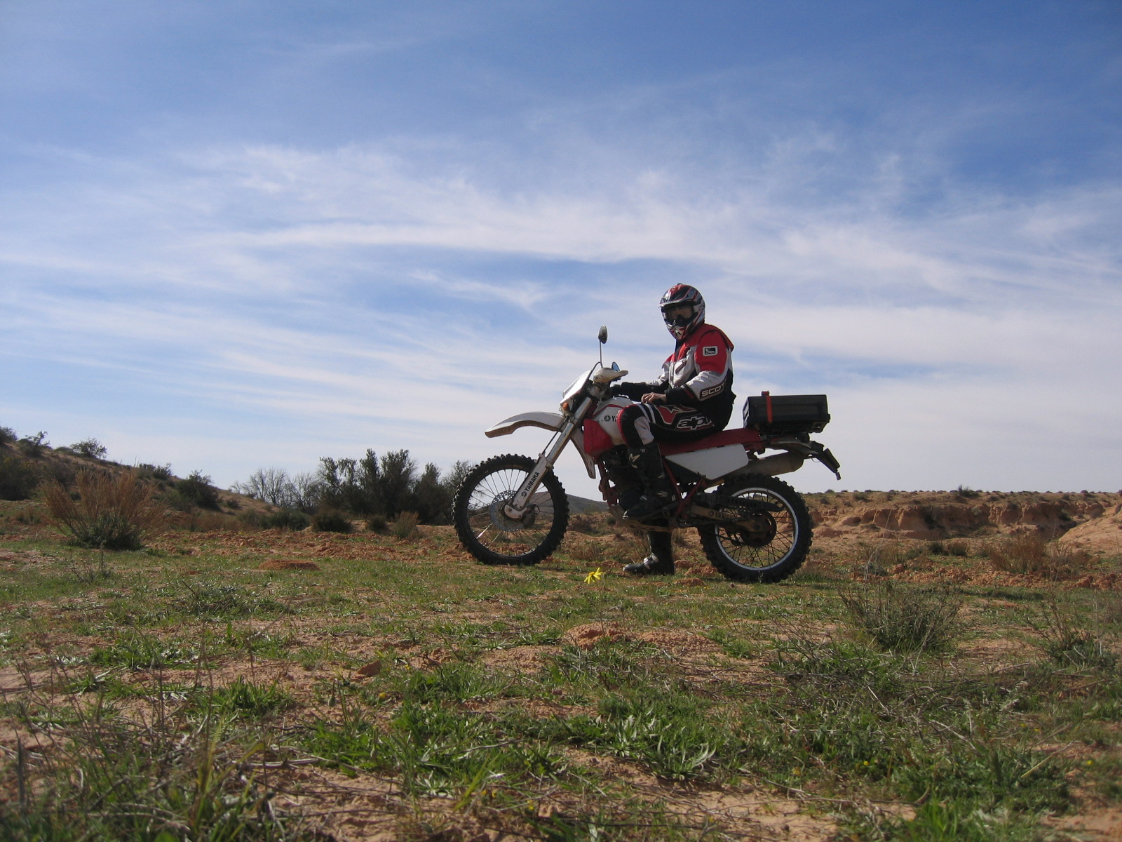 Motorcycle in tunisia near Matmata comming from Douz.